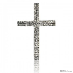 "14k White Gold 1 1/4"" (31mm) tall Diamond Cross Pendant, w/ 0.55 Carat Brilliant Cut Diamonds"