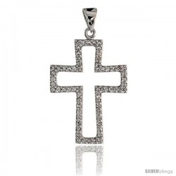 "14k White Gold 7/8"" (22mm) tall Diamond Cross Cut Out Pendant, w/ 0.22 Carat Brilliant Cut Diamonds"