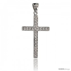 "14k White Gold 7/8"" (22mm) tall Diamond Latin Cross Pendant, w/ 0.14 Carat Brilliant Cut Diamonds"
