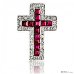 "14k White Gold 1 1/8"" (29mm) tall Diamond Latin Cross Pendant, w/ 0.50 Carat Brilliant Cut Diamonds & 2.54 Carats Princess Cut"