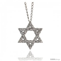 "14k White Gold 18"" Chain & 1/2"" (12mm) tall Jewish Star of David Diamond Pendant, w/ 0.17 Carat Brilliant Cut Diamonds"