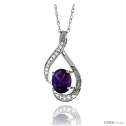14K White Gold Natural Amethyst Pendant, 3/4 in long