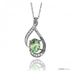 14K White Gold Natural Green Amethyst Pendant, 3/4 in long