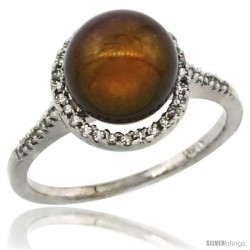 14k White Gold Halo Engagement 8.5 mm Brown Pearl Ring w/ 0.146 Carat Brilliant Cut Diamonds, 7/16 in. (11mm) wide