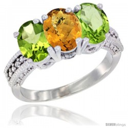 10K White Gold Natural Whisky Quartz & Peridot Sides Ring 3-Stone Oval 7x5 mm Diamond Accent