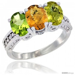 10K White Gold Natural Peridot, Whisky Quartz & Lemon Quartz Ring 3-Stone Oval 7x5 mm Diamond Accent