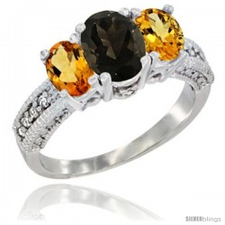 14k White Gold Ladies Oval Natural Smoky Topaz 3-Stone Ring with Citrine Sides Diamond Accent