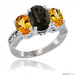 14K White Gold Ladies 3-Stone Oval Natural Smoky Topaz Ring with Citrine Sides Diamond Accent