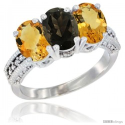 14K White Gold Natural Smoky Topaz & Citrine Sides Ring 3-Stone 7x5 mm Oval Diamond Accent