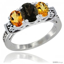 14K White Gold Natural Smoky Topaz & Citrine Ring 3-Stone Oval with Diamond Accent