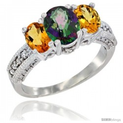14k White Gold Ladies Oval Natural Mystic Topaz 3-Stone Ring with Citrine Sides Diamond Accent