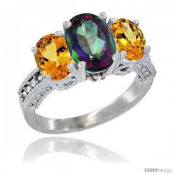 14K White Gold Ladies 3-Stone Oval Natural Mystic Topaz Ring with Citrine Sides Diamond Accent