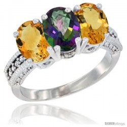 14K White Gold Natural Mystic Topaz & Citrine Sides Ring 3-Stone 7x5 mm Oval Diamond Accent