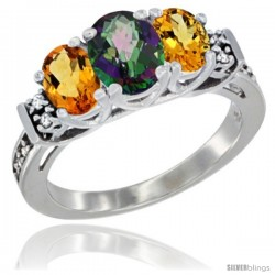 14K White Gold Natural Mystic Topaz & Citrine Ring 3-Stone Oval with Diamond Accent