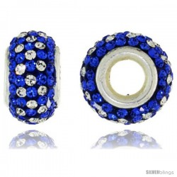 Sterling Silver Crystal Bead Charm White & Cobalt Color w/ Swarovski Elements, 13 mm