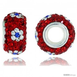 Sterling Silver Crystal Bead Charm Red Centered With White & Cobalt Flower Color w/ Swarovski Elements, 13 mm