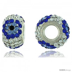 Sterling Silver Crystal Bead Charm White Centered With Cobalt, Blue Topaz & Black Color w/ Swarovski Elements