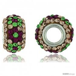 Sterling Silver Crystal Bead Charm Champagne, Garnet & Emerald Color w/ Swarovski Elements, 13 mm