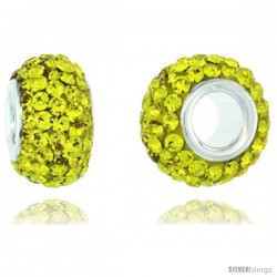 Sterling Silver Crystal Bead Charm Lime Color Bead Charm Crystals w/ Swarovski Elements, 13 mm