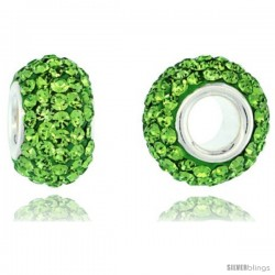 Sterling Silver Crystal Bead Charm Peridot Color w/ Swarovski Elements, 13 mm