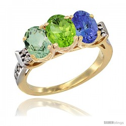10K Yellow Gold Natural Green Amethyst, Peridot & Tanzanite Ring 3-Stone Oval 7x5 mm Diamond Accent