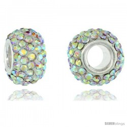 Sterling Silver Crystal Bead Charm White Opal Color Swarovski Elements, 13 mm