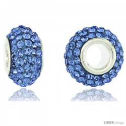 Sterling Silver Crystal Bead Charm Light Sapphire Color Swarovski Elements, 13 mm