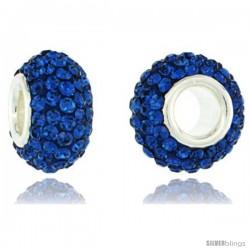 Sterling Silver Crystal Bead Charm Capri Blue Color Swarovski Elements, 13 mm