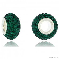 Sterling Silver Crystal Bead Charm Emerald Color Swarovski Elements, 13 mm