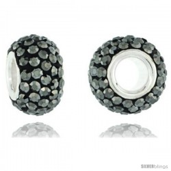Sterling Silver Crystal Bead Charm Black Color Swarovski Elements, 13 mm