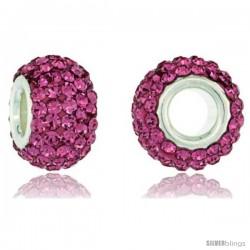 Sterling Silver Crystal Bead Charm Pink Topaz Color Swarovski Elements, 13 mm