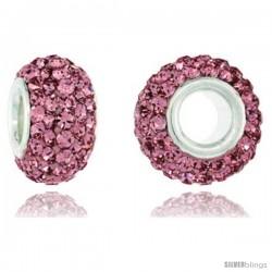 Sterling Silver Crystal Bead Charm Rose Color Swarovski Elements, 13 mm