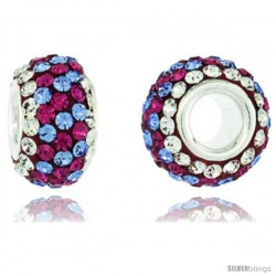 Sterling Silver Crystal Bead Charm White, Lavender & Fuchsia Spiral Color Swarovski Elements, 13 mm