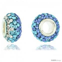 Sterling Silver Crystal Bead Charm White, Aquamarine & Lavender Color Swarovski Elements, 13 mm
