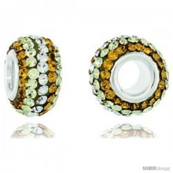 Sterling Silver Crystal Bead Charm Lime, Citrine, White Color Swarovski Elements, 13 mm