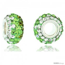 Sterling Silver Crystal Bead Charm White, Peridot & Olivine Swarovski Elements, 13 mm