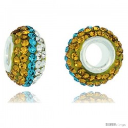 Sterling Silver Crystal Bead Charm Citrine, Fern Green Satin & White Lined Color Swarovski Elements, 13 mm