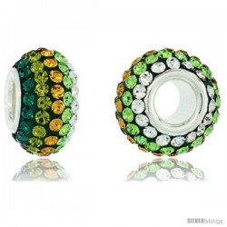 Sterling Silver Crystal Bead Charm Emerald, Olivine, Citrine, Peridot & White Lined Color Swarovski Elements, 13 mm