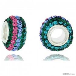 Sterling Silver Crystal Bead Charm Emerald, Light Sapphire & Light Pink Topaz Lined Color Swarovski Elements, 13 mm