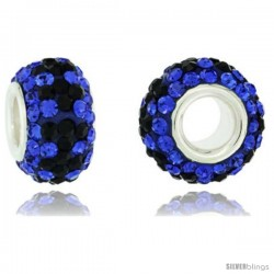 Sterling Silver Crystal Bead Charm Cobalt, Black Color Swarovski Elements, 13 mm