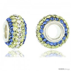 Sterling Silver Crystal Bead Charm Light Sapphire, Lime, White Color Swarovski Elements, 13 mm