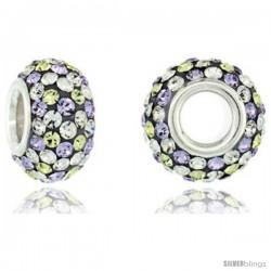 Sterling Silver Crystal Bead Charm White & Lime Polka dot Color Swarovski Elements, 13 mm