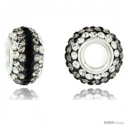 Sterling Silver Crystal Bead Charm White, Smoky Quartz, Black Line Color Swarovski Elements, 13 mm