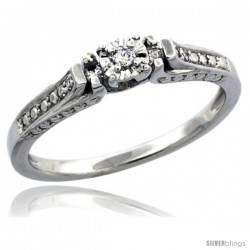 Sterling Silver Diamond Vintage Style 7-Stone Engagement Ring Rhodium Finish