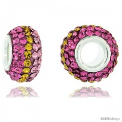 Sterling Silver Crystal Bead Charm Rose, Citrine & Pink Topaz Color Swarovski Elements, 13 mm