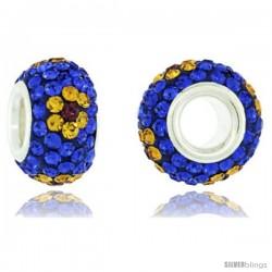 Sterling Silver Crystal Bead Charm Cobalt, Citrine & Fuchsia Flower Color Swarovski Elements, 13 mm