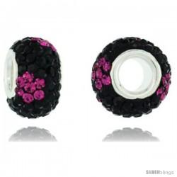 Sterling Silver Crystal Bead Charm Black, Fuchsia Flower Color w/ Swarovski Elements, 13 mm
