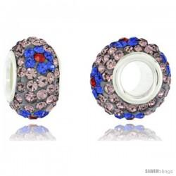 Sterling Silver Crystal Bead Charm Indian Pink w/ Fuchsia Flowers Swarovski Elements, 13 mm