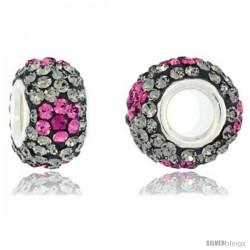 Sterling Silver Crystal Bead Charm Smoky Quartz, Pink Topaz & Fuchsia Flower Color w/ Swarovski Elements, 13 mm