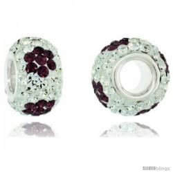 Sterling Silver Crystal Bead Charm White, Fuchsia Satin Flower Color w/ Swarovski Elements, 13 mm